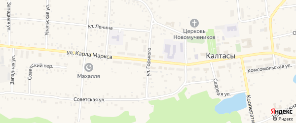 Улица Горького на карте села Калтасов с номерами домов