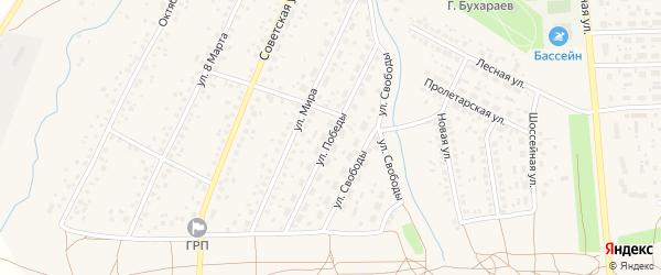 Улица Победы на карте села Киргиза-Мияки с номерами домов