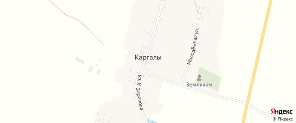 Солнечная улица на карте села Каргалы с номерами домов