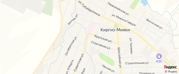 Карта села Киргиза-Мияки в Башкортостане с улицами и номерами домов
