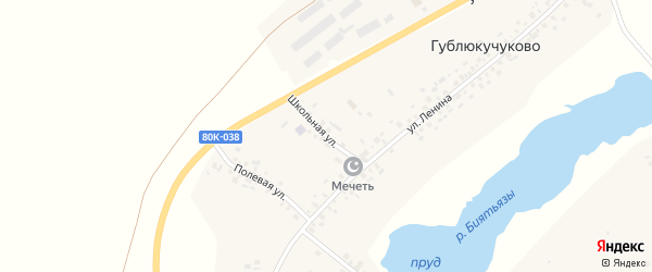 Школьная улица на карте села Гублюкучуково с номерами домов