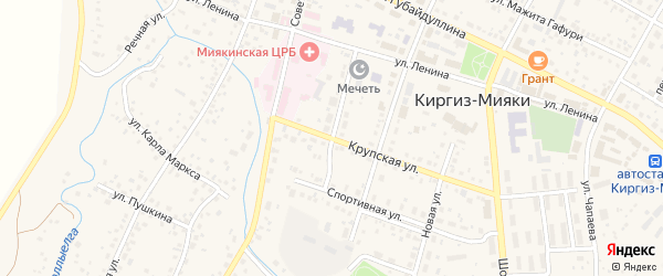 Крупская улица на карте села Киргиза-Мияки с номерами домов