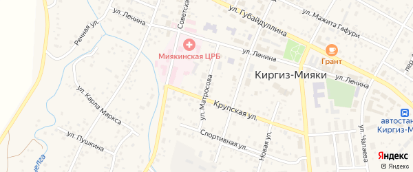 Улица Матросова на карте села Киргиза-Мияки с номерами домов