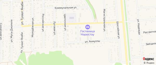 Переулок Акмуллы на карте села Киргиза-Мияки с номерами домов