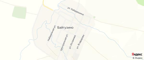 Карта села Байгузино в Башкортостане с улицами и номерами домов