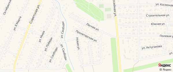 Пролетарская улица на карте села Киргиза-Мияки с номерами домов