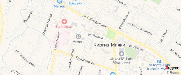 Улица Калинина на карте села Киргиза-Мияки с номерами домов