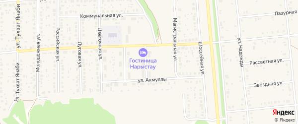 Школьный переулок на карте села Киргиза-Мияки с номерами домов