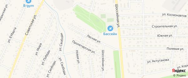 Лесная улица на карте села Киргиза-Мияки с номерами домов