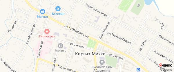 Улица Губайдуллина на карте села Киргиза-Мияки с номерами домов