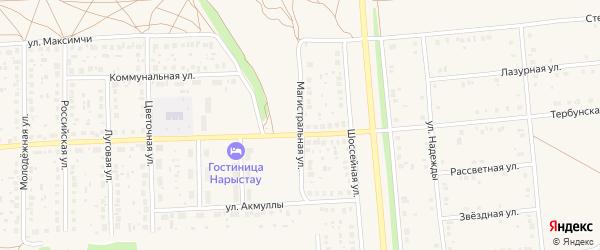 Магистральная улица на карте села Киргиза-Мияки с номерами домов