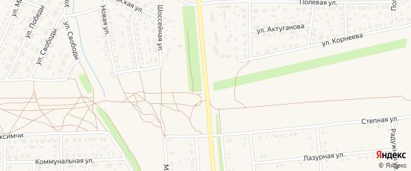 Шоссейная улица на карте села Киргиза-Мияки с номерами домов