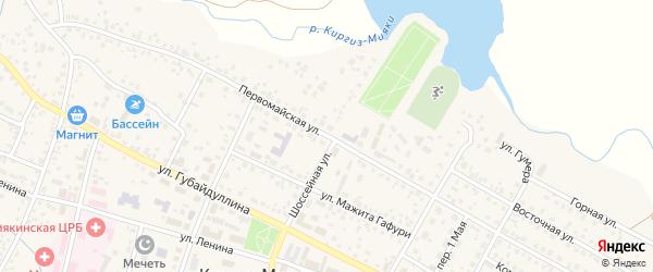 Первомайская улица на карте села Киргиза-Мияки с номерами домов