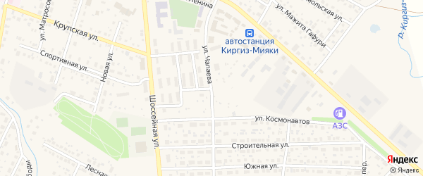 Улица Чапаева на карте села Киргиза-Мияки с номерами домов