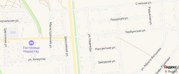 Улица Надежды на карте села Киргиза-Мияки с номерами домов