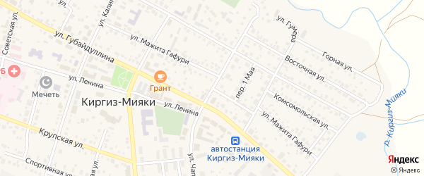 Улица М.Гафури на карте села Киргиза-Мияки с номерами домов