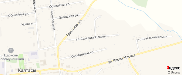 Улица Салавата Юлаева на карте села Калтасов с номерами домов