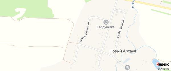 Кремлевская улица на карте села Нового Артаула с номерами домов
