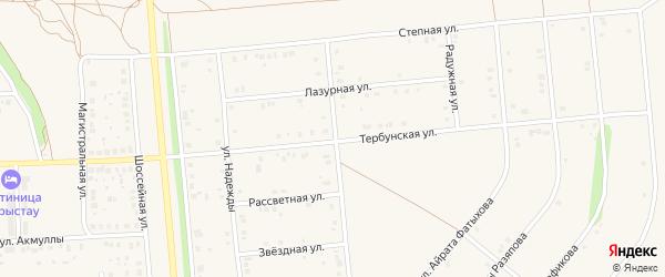 Рассветная улица на карте села Киргиза-Мияки с номерами домов