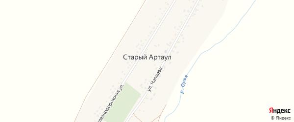 Железнодорожная улица на карте села Старого Артаула с номерами домов
