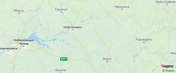 Карта Калтасинского района республики Башкортостан с городами и населенными пунктами