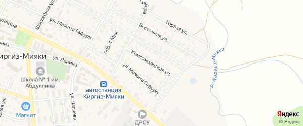 Комсомольская улица на карте села Киргиза-Мияки с номерами домов