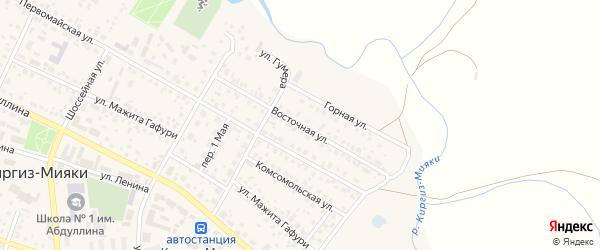 Восточная улица на карте села Киргиза-Мияки с номерами домов
