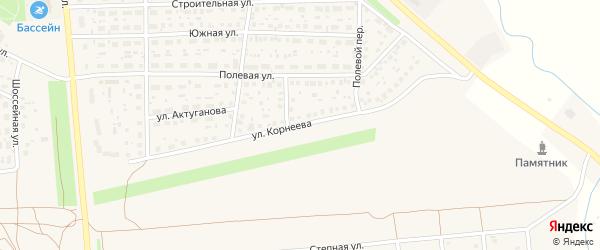 Улица Корнеева на карте села Киргиза-Мияки с номерами домов