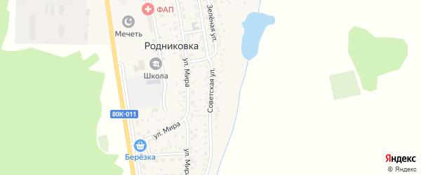 Советская улица на карте села Родниковки с номерами домов