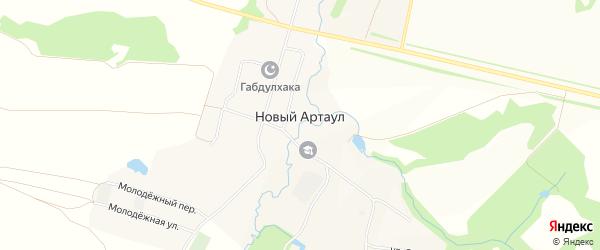 Карта села Нового Артаула в Башкортостане с улицами и номерами домов