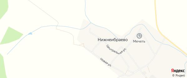 Карта деревни Нижнеибраево в Башкортостане с улицами и номерами домов