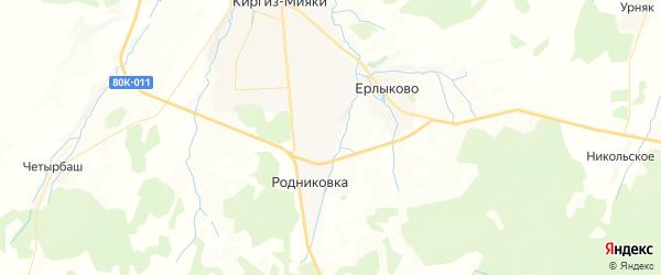 Карта Енебея-Урсаевского сельсовета республики Башкортостан с районами, улицами и номерами домов
