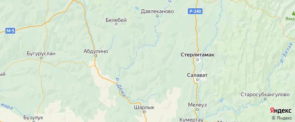 Карта Миякинского района республики Башкортостан с городами и населенными пунктами