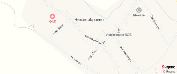 Центральная улица на карте деревни Нижнеибраево с номерами домов