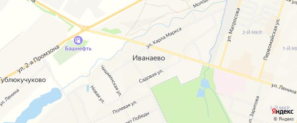 Карта села Иванаево в Башкортостане с улицами и номерами домов