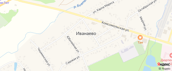 Озерная улица на карте села Иванаево с номерами домов