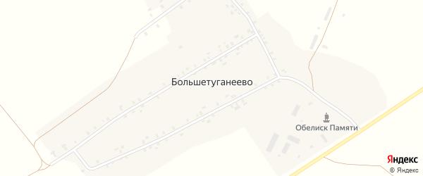 Кооперативная улица на карте деревни Большетуганеево с номерами домов