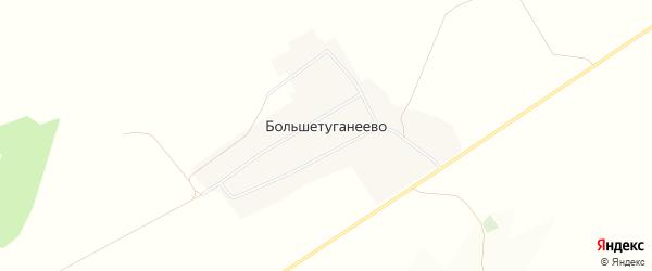 Карта деревни Большетуганеево в Башкортостане с улицами и номерами домов