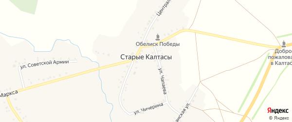 Улица Советской Армии на карте деревни Старые Калтасы с номерами домов
