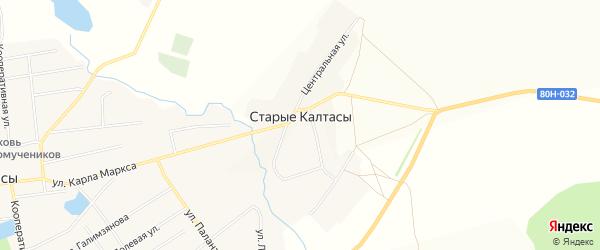 Карта деревни Старые Калтасы в Башкортостане с улицами и номерами домов
