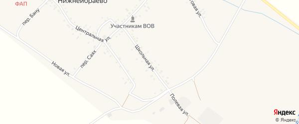 Школьная улица на карте деревни Нижнеибраево с номерами домов