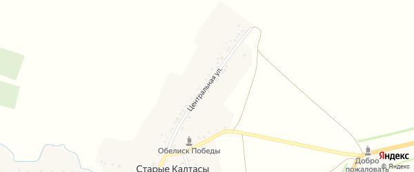 Центральная улица на карте деревни Старые Калтасы с номерами домов