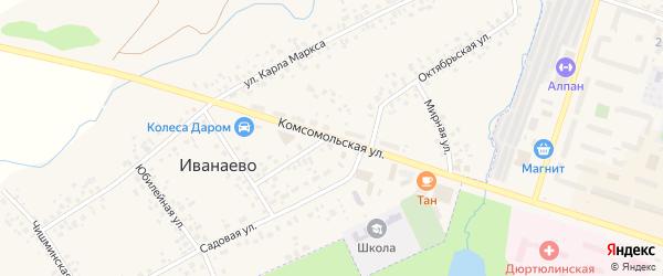 Комсомольская улица на карте села Иванаево с номерами домов