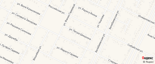 Улица Петра Шишкина на карте Дюртюлей с номерами домов
