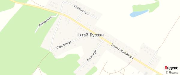 Озерная улица на карте деревни Чятая-Бурзяна с номерами домов