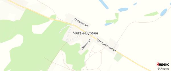 Карта деревни Чятая-Бурзяна в Башкортостане с улицами и номерами домов