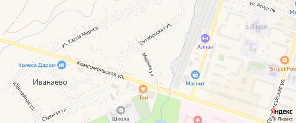 Мирная улица на карте села Иванаево с номерами домов