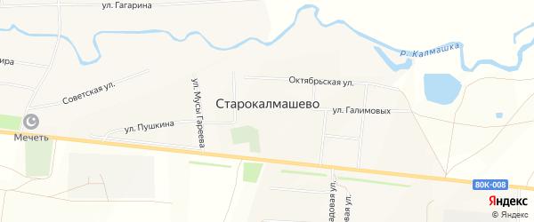 Карта села Старокалмашево в Башкортостане с улицами и номерами домов