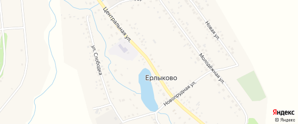 Центральная улица на карте села Ерлыково с номерами домов