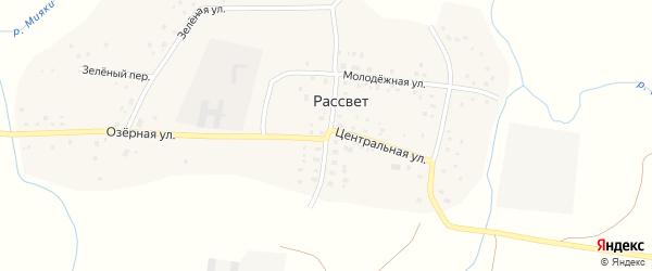 Школьная улица на карте деревни Рассвета с номерами домов